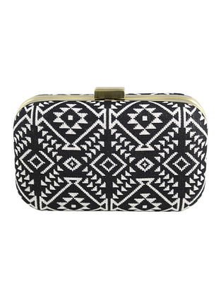 Black-White Hand Woven Clutch