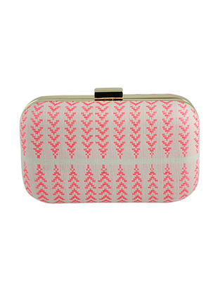 Pink-White Hand Woven Clutch