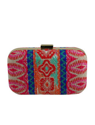 Multicolored Hand Woven Clutch