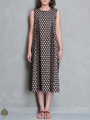 Black-Madder Block Printed Cotton Kali Dress by Jaypore