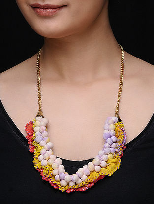 Pink-Yellow Cotton and Brass Beaded Necklace