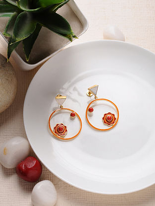 Red Orange Gold Tone Mother of Pearl Enameled Brass Earrings