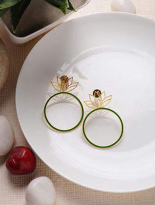 Green Gold Tone Enameled Brass Earrings