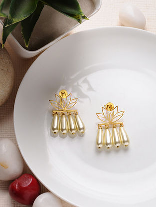 Gold Tone Enameled Brass Earrings with Pearl Drops
