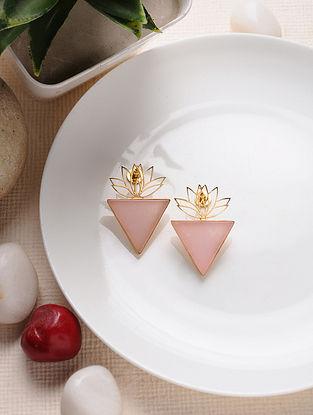 Pink Gold Tone Jade Enameled Brass Earrings