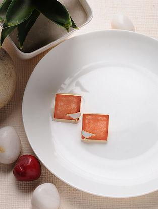 Orange Gold Tone Enameled Jade Brass Earrings