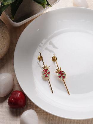 Red Green Gold Tone Enameled Brass Earrings