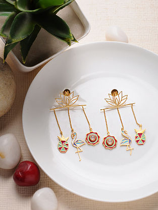 Multicolored Gold Tone Enameled Brass Earrings