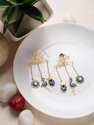 Blue Green Gold Tone Enameled Brass Earrings