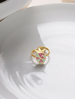 Green Red Gold Tone Enameled Adjustable Brass Ring