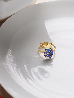 Blue Gold Tone Enameled Adjustable Brass Ring