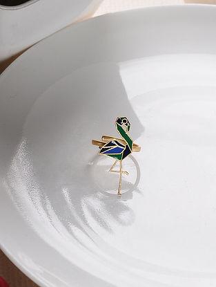 Blue Green Gold Tone Enameled Adjustable Brass Ring