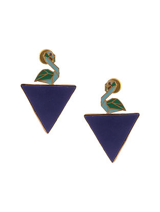 Blue Green Enameled Gold Plated Earrings with Lapis Lazuli