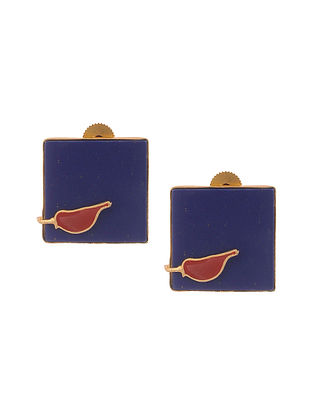 Orange Enameled Gold Plated Brass Earrings with Lapis Lazuli