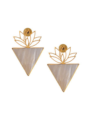Gold Plated Brass Earrings with Mother of Pearl