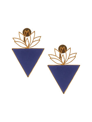 Gold Plated Brass Earrings with Lapis Lazuli