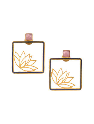 Blue Enameled Gold Plated Brass Earrings with Pink Onyx