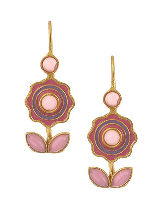 Red Blue Enameled Gold Plated Brass Earrings with Pink Onyx