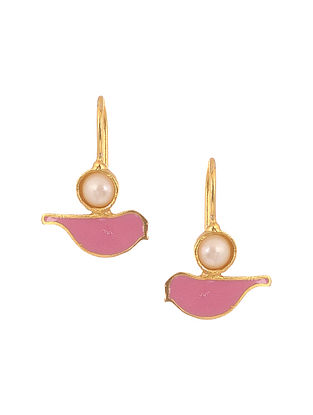 Pink Enameled Gold Plated Brass Earrings with Pearls