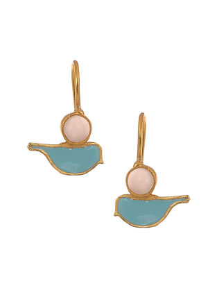 Blue Enameled Gold Plated Earrings with Rose Quartz