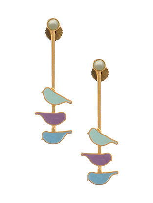 Multicolored Enameled Gold Plated Brass Earrings with Chalcedony