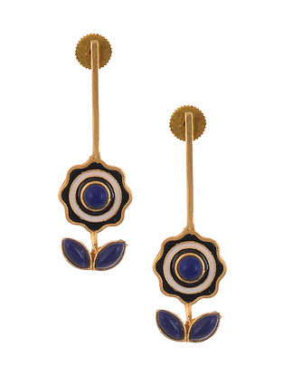 Black White Enameled Gold Plated Brass Earrings with Malachite