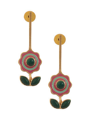 Green Blue Enameled Gold Plated Brass Earrings with Malachite