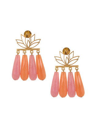 Pink Orange Enameled Gold Plated Brass Earrings