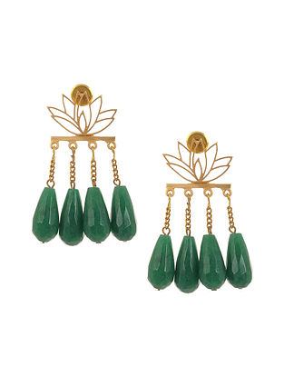 Green Enameled Gold Plated Brass Earrings