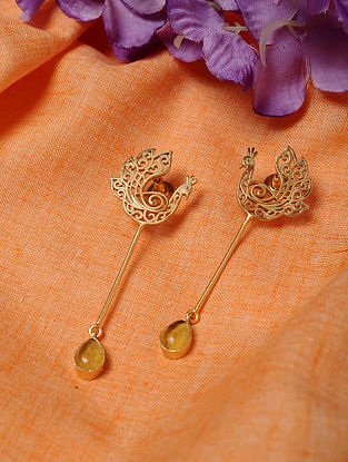Gold Tone Handcrafted Earrings with Citrine