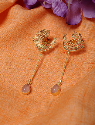 Gold Tone Handcrafted Earrings with Rose Quartz