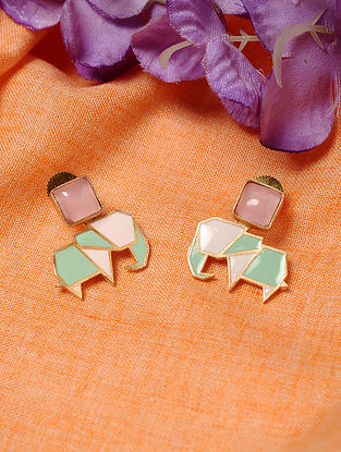 Green White Enameled Earrings with Rose Quartz