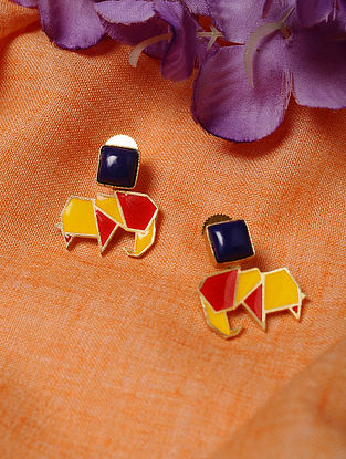 Red Yellow Enameled Earrings with Lapis
