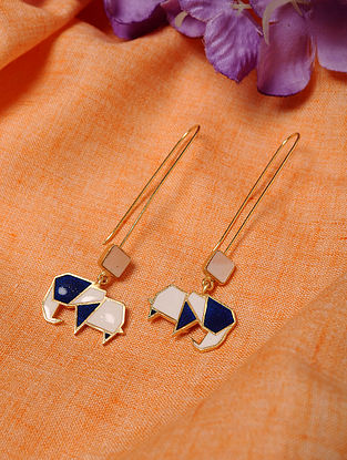Blue White Enameled Earrings