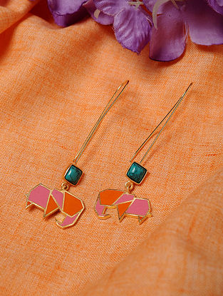 Pink Red Enameled Earrings with Turquoise
