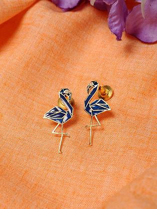 Blue Gold Tone Enameled Earrings