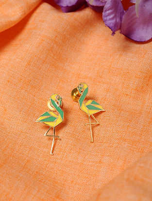 Yellow Green Gold Tone Enameled Earrings