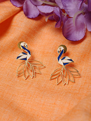 White Blue Gold Tone Enameled Earrings