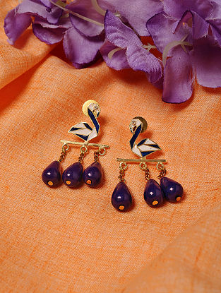 Blue White Gold Tone Enameled Earrings with Lapis