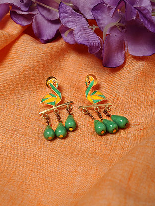 Yellow Green Gold Tone Enameled Earrings with Agate