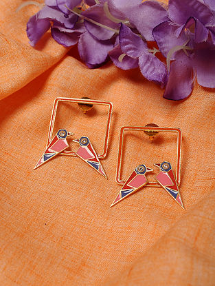 Multicolored Gold Tone Enameled Earrings
