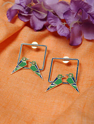 Blue Green Gold Tone Enameled Earrings