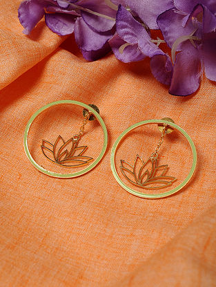 Green Gold Tone Enameled Earrings