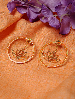 Orange Gold Tone Enameled Earrings