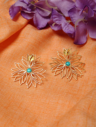 Gold Tone Earrings with Turquoise