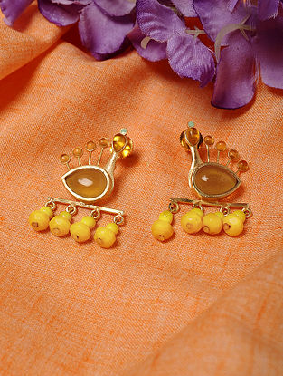 Gold Tone Handcrafted Earrings with Citrine and Agate