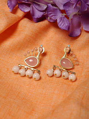 Gold Tone Handcrafted Earrings with Rose Quartz and Agate