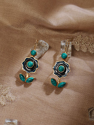 Blue Gold Tone Handcrafted Earrings with Turquoise