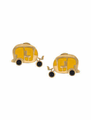 Yellow Gold Tone Enameled Earrings with Onyx