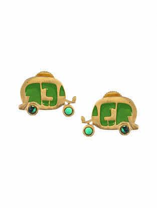 Green Gold Tone Enameled Earrings with Onyx